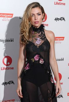 Abbey Clancy braless under sheer gown for BNTM launch | Daily Mail Online
