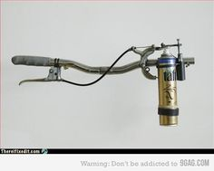 Homemade flame thrower? Um, lol? Pinned because I had visions of muddy, crazed me fighting off zombies. /snicker