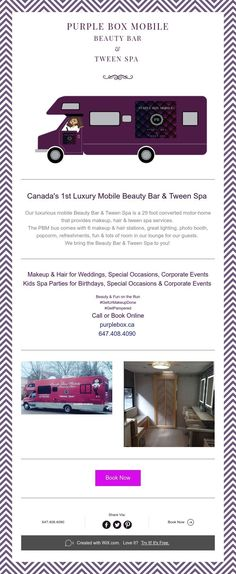 Introducing the Purple Box Mobile Beauty Bar & Tween Spa for weddings, birthdays, special events Mobile Nail Salon, Mobile Nails, Hair Stations, Mobile Beauty, Spa Birthday Parties, Spa Services, Beauty Bar, Lash Extensions, Tween