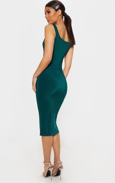 080206a0766 Jade Green Slinky Strappy Midi Dress