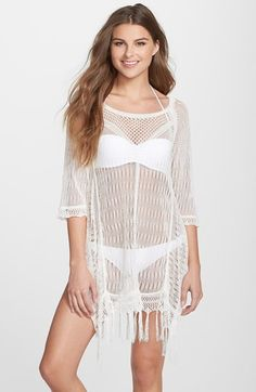 47e3281e271b8 L Space  Vista  Fringe Hem Cover-Up Sweater available at  Nordstrom Swimsuit