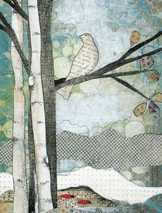 Bird Painting,  Mixed Media Collage Reproduction Print , Nature Art , Whimsical Art by sarahogren on Etsy