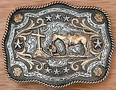 AndWest® Antiqued Silver with Gold Praying Cowboy Scallop Belt Buckle