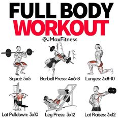 Get ready to smash your muscles and watch them grow, with this 5 exercise workout! It's time for a new training split, one that better fits your goals and your schedule Push Pull Workout, All Body Workout, Full Body Workout Routine, Gym Routine, Gym Workout For Beginners, Gym Workout Tips, Dumbbell Workout, Beast Workout, Workout Posters