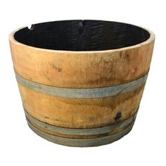 Real Wood Products 18-in H x 26-in W x 26-in D Oak Wood Outdoor Planter from Lowes for a barrel