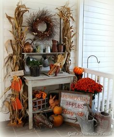 Fall Bakers Rack/pillars on either side with foliage