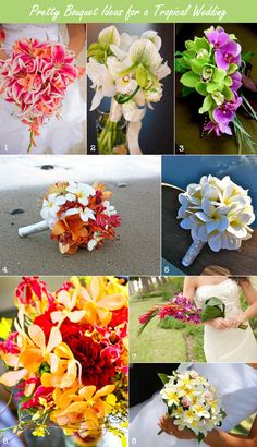 Tropical bouquets and flowers for a tropical wedding