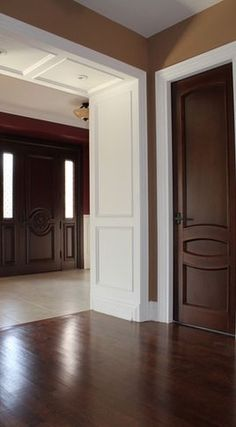 white trim with wood doors- If you don't want to paint the doors