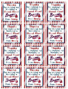 DIY Personalized Baseball Birthday Braves Favor Hang by susanefird