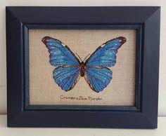 My butterfly finally framed the way i love it. #terrencenolan #crossstitch #crossstitching #crossstitchofinstagram #вышивкакрестиком #вышиваюкрестиком #bluemorpho #kreinik