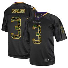 703f1d0e7 Men s Blair Walsh Elite Black Nike Jersey  NFL Minnesota Vikings  3 Camo  Fashion Brian