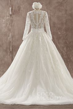 Charming A-Line Illusion Natural Train Tulle Ivory Long Sleeve Wedding Dress with Appliques LWMT14002 #weddingdresses #cocomelody