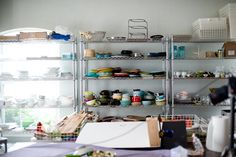 Inside Jaden Hair's Stuidio, Photography by White on Rice Couple.    I desperately need some organization like this....and space!