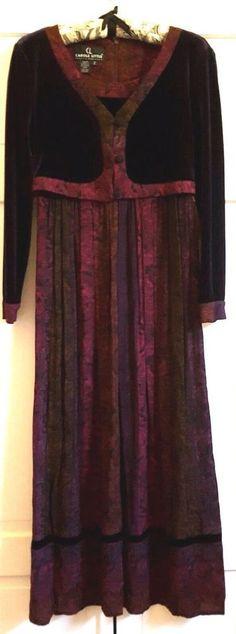 VTG Carole Little Dress Petite Size 2 Velvet Rayon Jacket Look New Old Stock    #CaroleLittle #Maxi