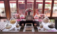Pink and Chocolate Brown Wedding Lolly Buffet, via Flickr.
