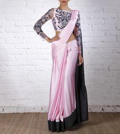 Pearl Pink & Grey Satin Saree