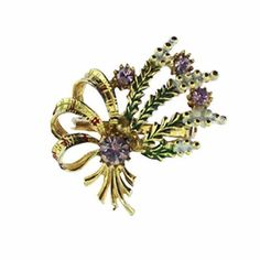 This vintage white heather brooch features a bouquet of enamel white heather wrapped in a gold and red tartan sash and accented with purple rhinestones. Tartan Sash, Fashion Accessories, Enamel, Retro, Purple, Flowers, Gold, Brooches, Vintage