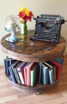 Industrial Reclaimed Wood Spool Black Pipe Coffee Table BookMobile on Casters Wire Spool Tables, Cable Spool Tables, Palette Deco, Wood Spool, Vinyl Record Storage, Diy Home Decor Bedroom, Office Storage, Recycled Furniture, Rustic Table