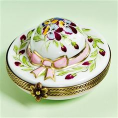 Limoges Pansies Hat Box with Pink Ribbon - Limoges Boxes , Limoges Boxes for Ladies