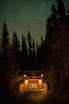 Jeep Wrangler under the stars