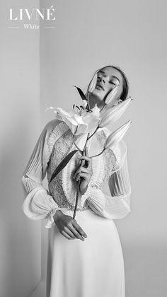 alon livne 2018 2019 white bridal long poet sleeves high neck heavily embellished bodice vintage sheath wedding dress (violet) mv -- Livné White Wedding Dresses are Perfect for the Modern Bride | Wedding Inspirasi #wedding #weddings #bridal #weddingdress #bride ~