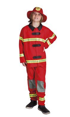 Palomies. Naamiaisasu on koristeltu huomiovärisin yksityiskohdin, aivan kuten oikeakin palomiehen univormu.