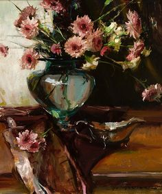 Dan Gerhartz (1965–Present), Chrysanthemums, oil on canvas, 24 x 20 in, JHAA 2010 Sold: $5,175