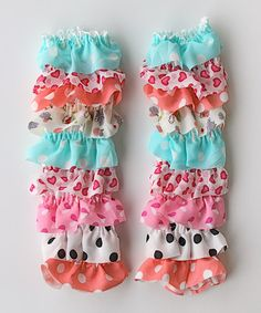 Take a look at this White & Light Blue Heart Leg Warmers by Under The Hooded Towels on #zulily today!
