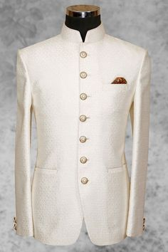#White pleasing #silk suit with bandhgala collar-ST496