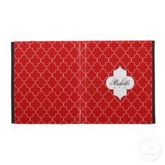 Red Elegant Moroccan Monogram Pattern iPad Cases #ipadcase #ipad #cuteipad #girlyipad #monogramipad