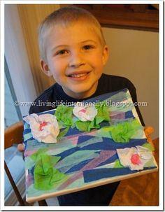 Kids Monet art project to help kids learn about famous artists. Super cute project (homeschool, art for kids, famous artists, kindergarten, 1st grade, 2nd grade, 3rd grade)