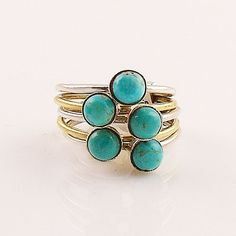 Blue Turquoise Sterling Silver Two Tone Stack Ring