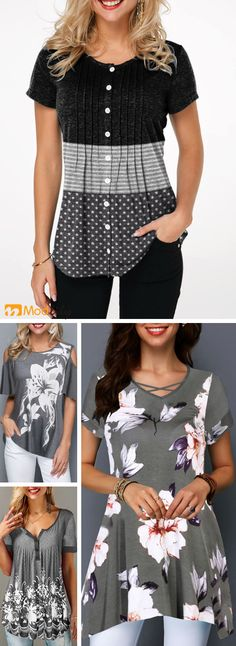 trend popular grey tops, short sleeve, printed, ca - Sewing Clothes, Diy Clothes, Clothes For Women, Cute Fashion, Fashion Outfits, Womens Fashion, Trendy Tops For Women, Facon, Refashion