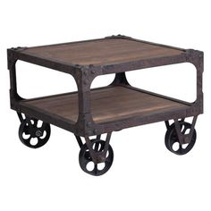 I say stain an old pallet, attach wheels! Have to have it. Rustic Industrial End Table $676.99