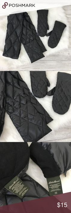Eddie Bauer Quilted Puffer Scarf Eddie Bauer Quilted Goose Down Puffer Scarf and Mittens.  Mittens are size S/M.  Scarf has pockets on ends and one side has a zipper inside. Eddie Bauer Accessories Scarves & Wraps