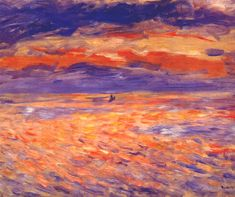 Sunset at sea - Renoir Pierre-Auguste Pierre Auguste Renoir, Claude Monet, August Renoir, Renoir Paintings, Gustav Klimt, Henri Matisse, Famous Artists, Van Gogh, Fine Art