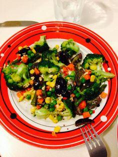 Broccoli salad . Honey mustard dressing