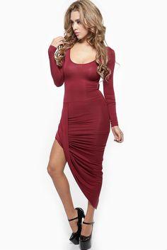 Long Sleeve Assymetrical Angelina Burgundy Dress @ Cicihot sexy dresses,sexy dress,prom dress,summer dress,spring dress,prom gowns,teens dresses,sexy party wear,women's cocktail dresses,ball dresses