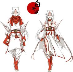 Male and female versions of Okami (even though Amaterasu is definitely female...but Shiranui is sometimes referred to as a male.)