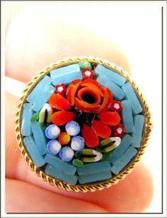 1940's Italiana Flores Coloridas Veneziano Redondo Micro Mosaico Broche. Veja mais! in Joias, bijuterias e relógios, Joias antigas e vintage, Bijuterias, Art Nouveau/Art Déco: 1895 a 1935, Broches   eBay
