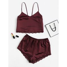 SheIn(sheinside) Lace Trim Satin Cami And Shorts Pajama Set ($15) ❤ liked on Polyvore featuring intimates, sleepwear, pajamas, satin pjs, lace trim cami, satin cami, summer pjs and v neck cami