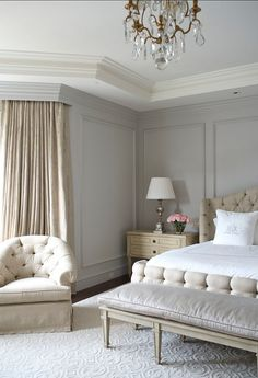 Beige and Gray Bedroom with Gray Wall Moldings - French - Bedroom - Benjamin Moore Wickham Gray Gray Bedroom Walls, Grey Walls, Home Bedroom, Master Bedrooms, Bedroom Ideas, Modern Bedroom, Lux Bedroom, Bedroom Designs, French Bedroom Furniture
