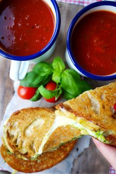 Pesto Grilled Cheese with Roasted Tomato Soup