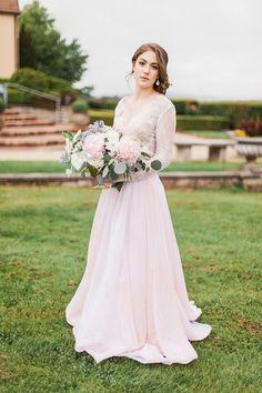Romantic Blush Wedding Dress for a Rose Quartz Bridal Shoot | Stefanie Marie Photo | http://heyweddinglady.com/blushing-bridal-beauty-shoot-rose-quartz-serenity/
