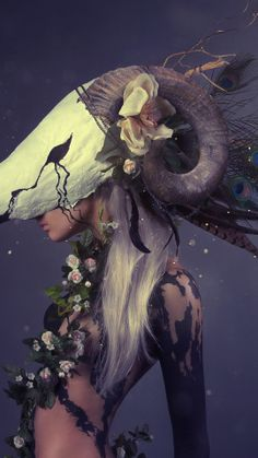 Woman with a ram mask #faerie