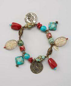 Love this Coral & Turquoise Bead Coin Stretch Bracelet on #zulily! #zulilyfinds