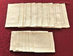 Ecru Linen Place Mats Matching Napkins Set of 8 Vintage Cut