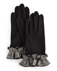 Houndstooth Ruffle Gloves, Black by Portolano at Last Call by Neiman Marcus.