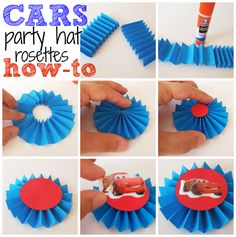 cars party hat rosettes how-to