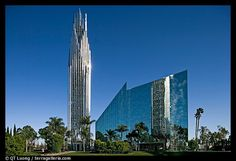 The Crystal Cathedral in Garden Grove, Orange County, California by Philip Johnson Christ Cathedral, Cathedral Church, Garden Grove California, Crystal Cathedral, Catholic Diocese, Philip Johnson, Sacred Architecture, Modern Architecture, Famous Architects